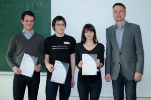 The 2015 Award winners Maximilian Schleich, Felix Dörre, Valeria Vignudelli with Prof. Stefan Szeider